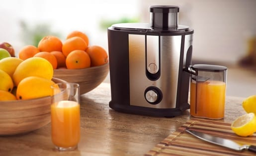 keyshot rendering of a juicer with color and lighting